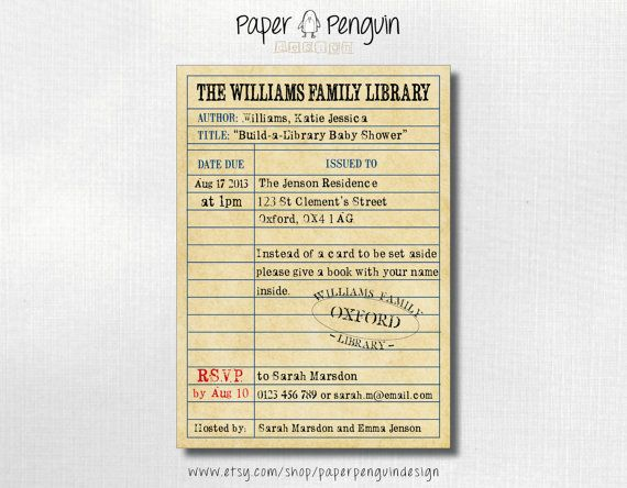 Build A Library Book Themed Baby Shower Invitation Bring