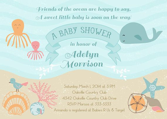Ocean Baby Shower Invitation, Under the Sea Baby Shower Invite - baby shower invitation