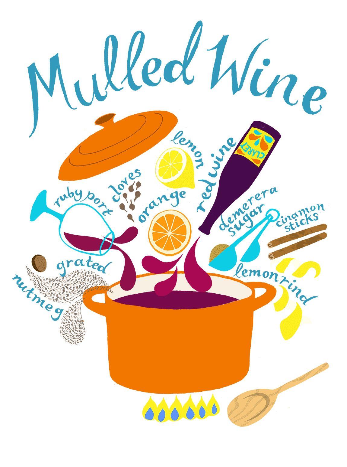 Alice Stevenson Mulled Wine Recipe Illustration For Tesco Food