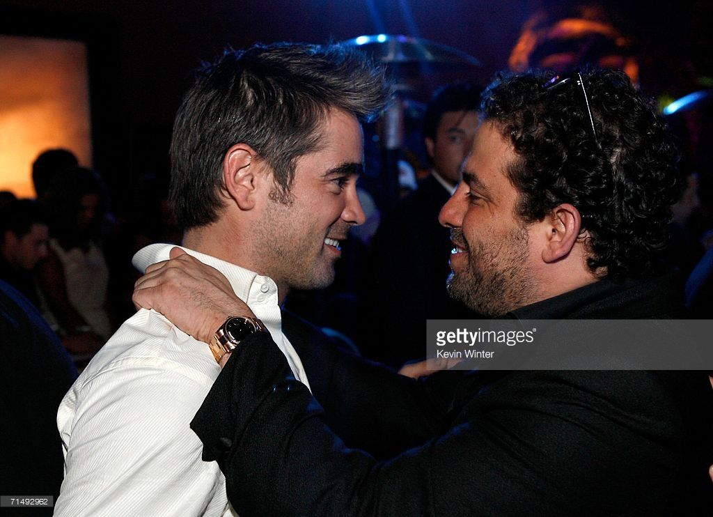 Actor Colin Farrell (L) and Director Brett Ratner attend the after party for the Universal Pictures premiere of 'Miami Vice' on July 20, 2006 in Westwood, California.