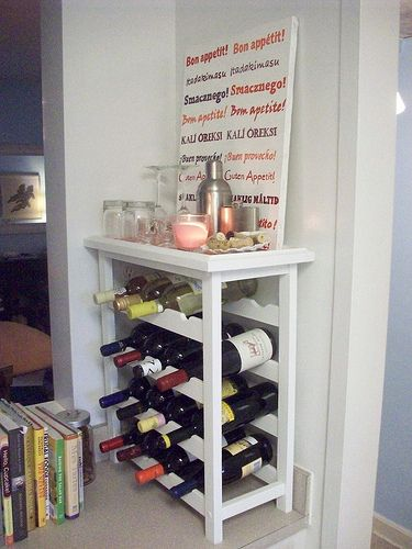 Wine Rack. I am making this! But with rails to hang my wine glasses!