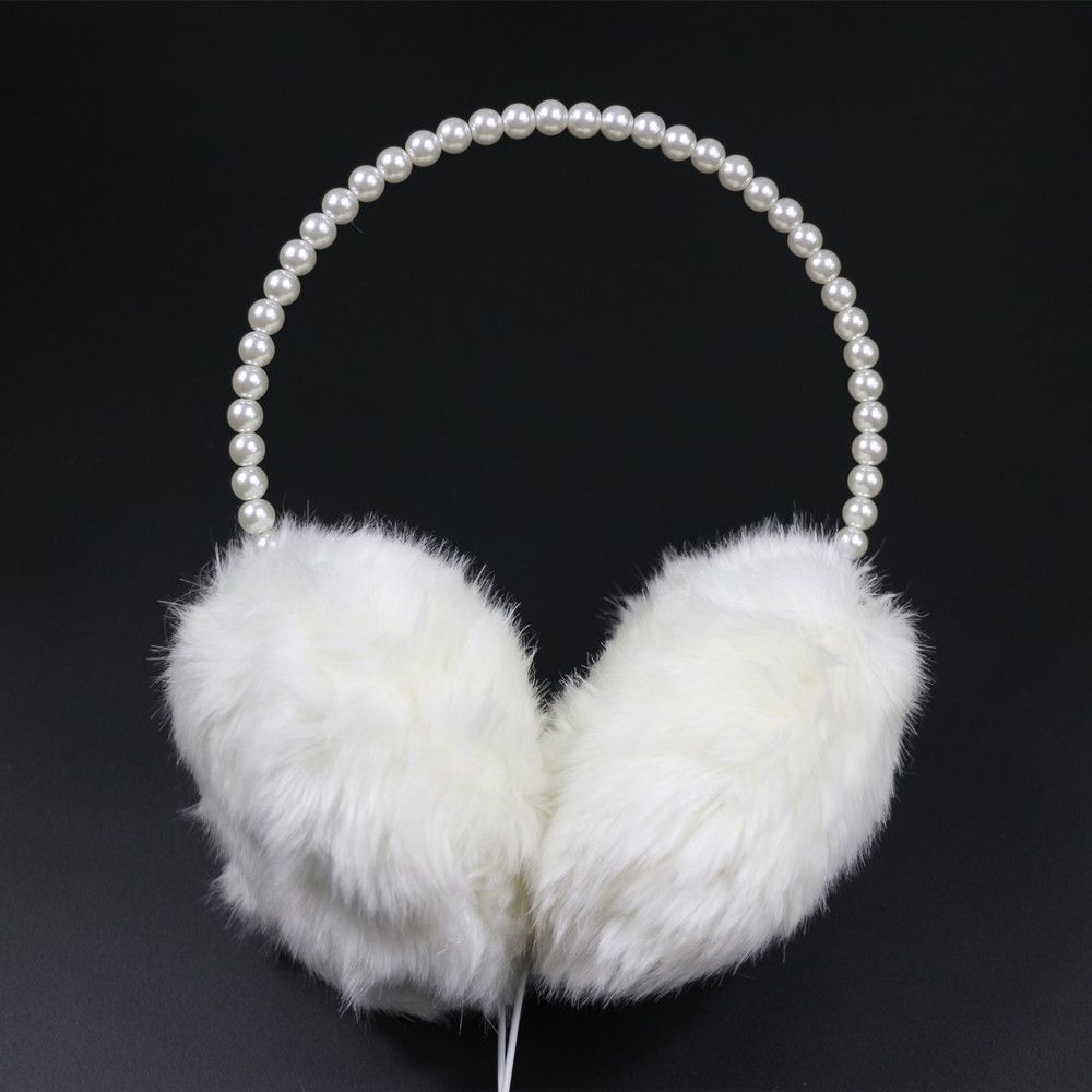 80372aec582 New Fashion Pearl Headband Earmuff Headphones Cute Girl Women Gift Warm  Plush Fluffy Female Headset Ear Warmer Winter Protection