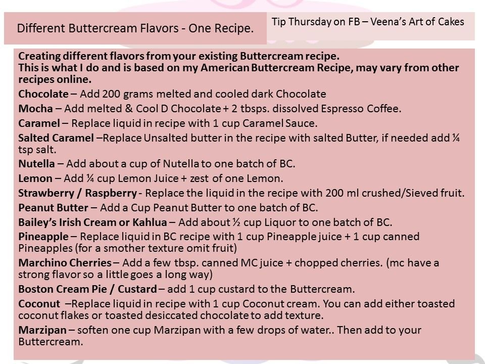 Tip Thursday Different Buttercream Flavors tip thursday frosting