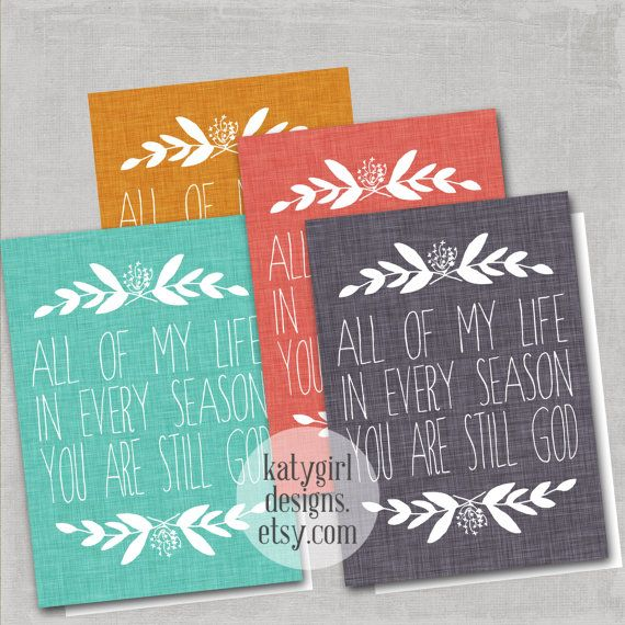 Set of 4 Folded Seasons Notecards & Envelopes by katygirldesigns, $10.00