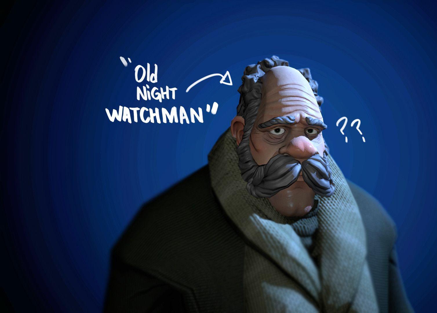 Old Night Watchman, Nicolas Guillet on ArtStation at https://www.artstation.com/artwork/qZnXL