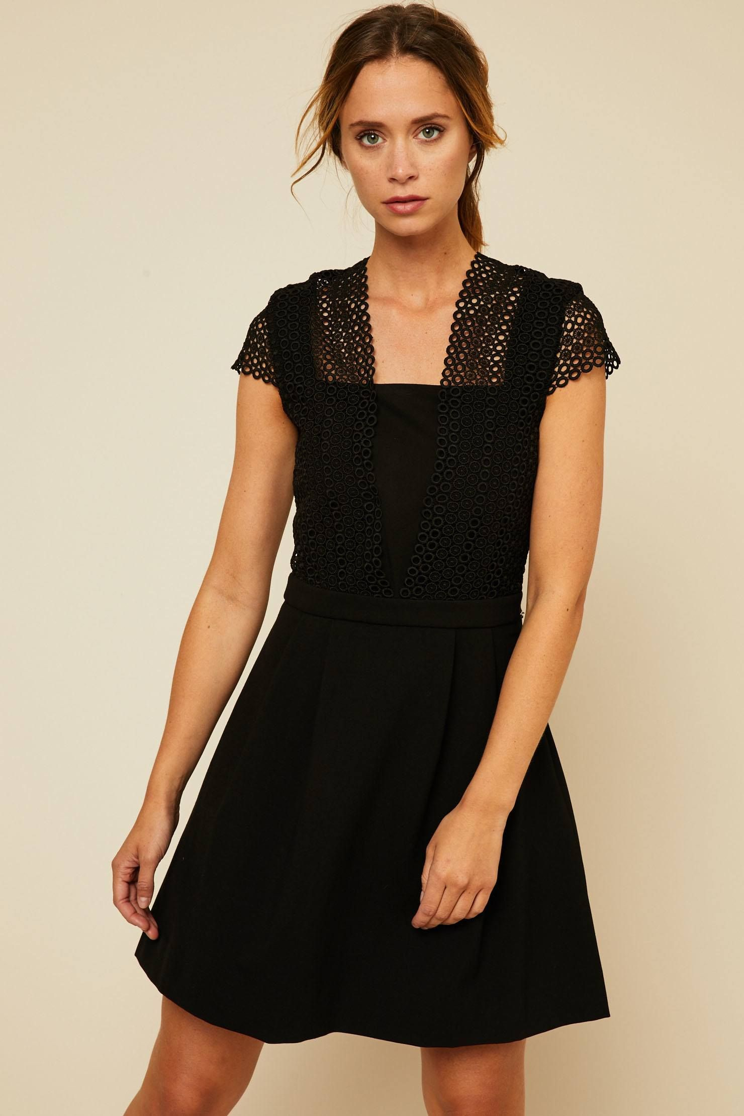 Ikks women Robe patineuse guipure noir   Mode Femme d8480e8c5b46