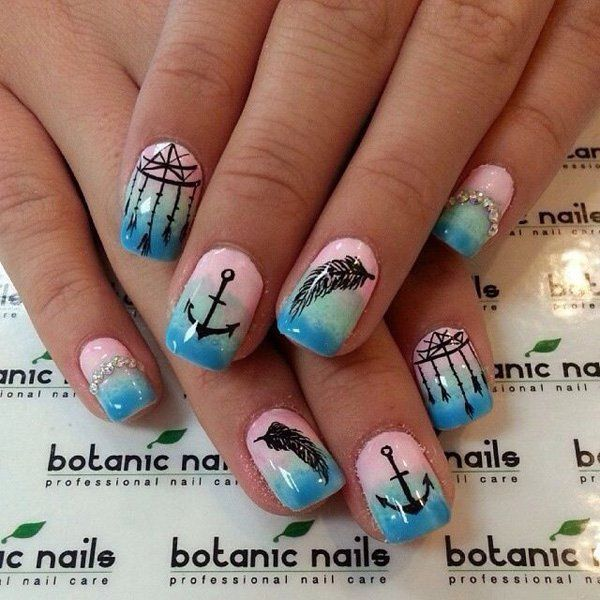 40+ Examples of Feather Nail Art | Feather nail art, Feather nails ...