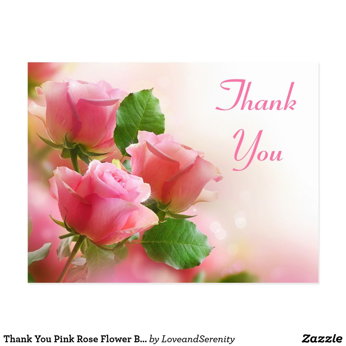 Thank You Pink Rose Flower Blank Floral Post Card | Zazzle ...