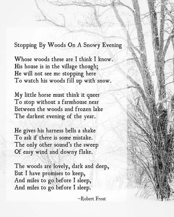 Stopping by Woods on a Snowy Evening, Robert Frost Poem, , Poetry Art Print,  Promises to Keep, Winter Wall Art, Farmhouse Decor, Unframed