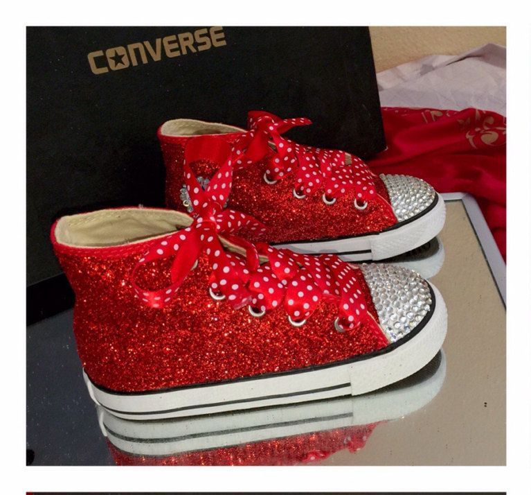 6548702d3893 Toddler kids girls Sparkly glitter converse all star CHOOSE COLOR swarovski  crystals bling satin ribbon shoe laces tennis sneakers by CrystalCleatss on  Etsy