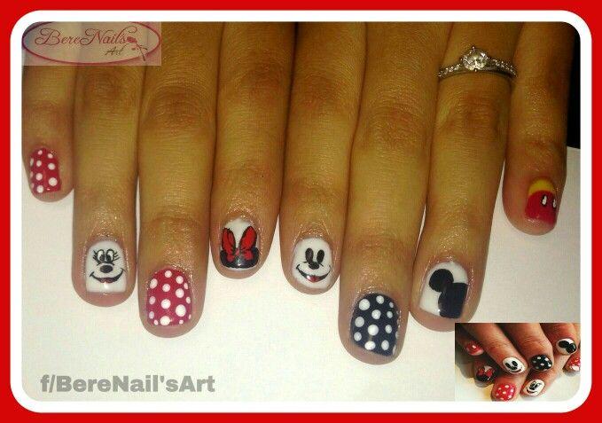Uñas naturales esmtado en gel nail art mickey mouse | BereNailArt ...