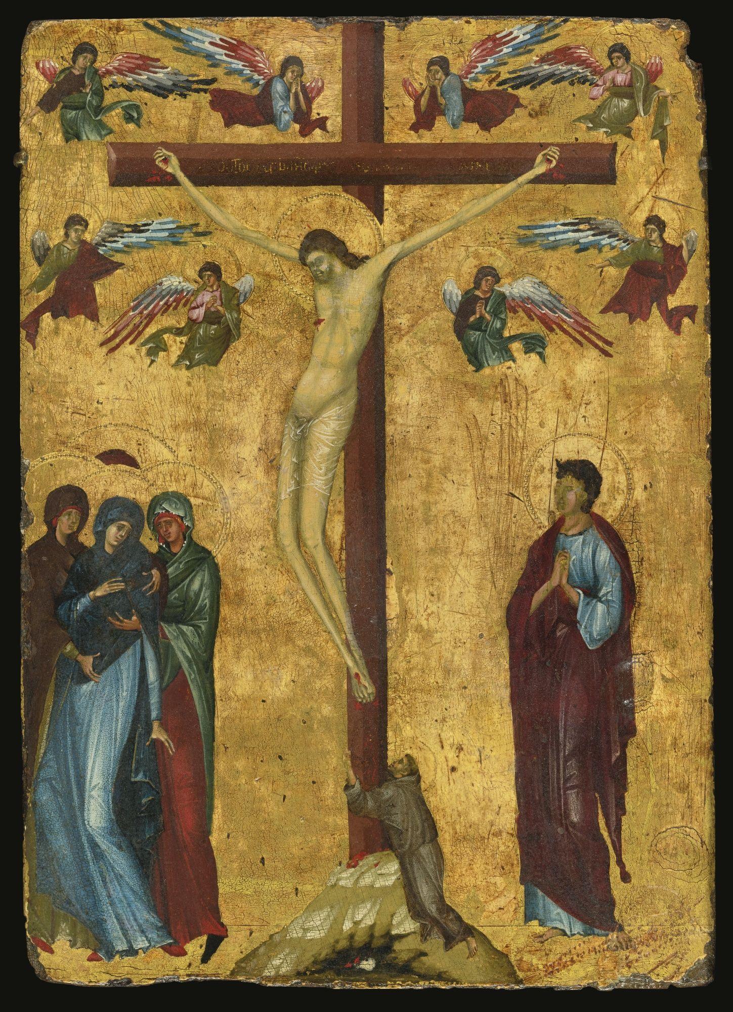 Maestro della Bibbia latina 18 ( Jacopino da Reggio?) -  Crocifissione con San Francesco - 1285 - Collezione privata