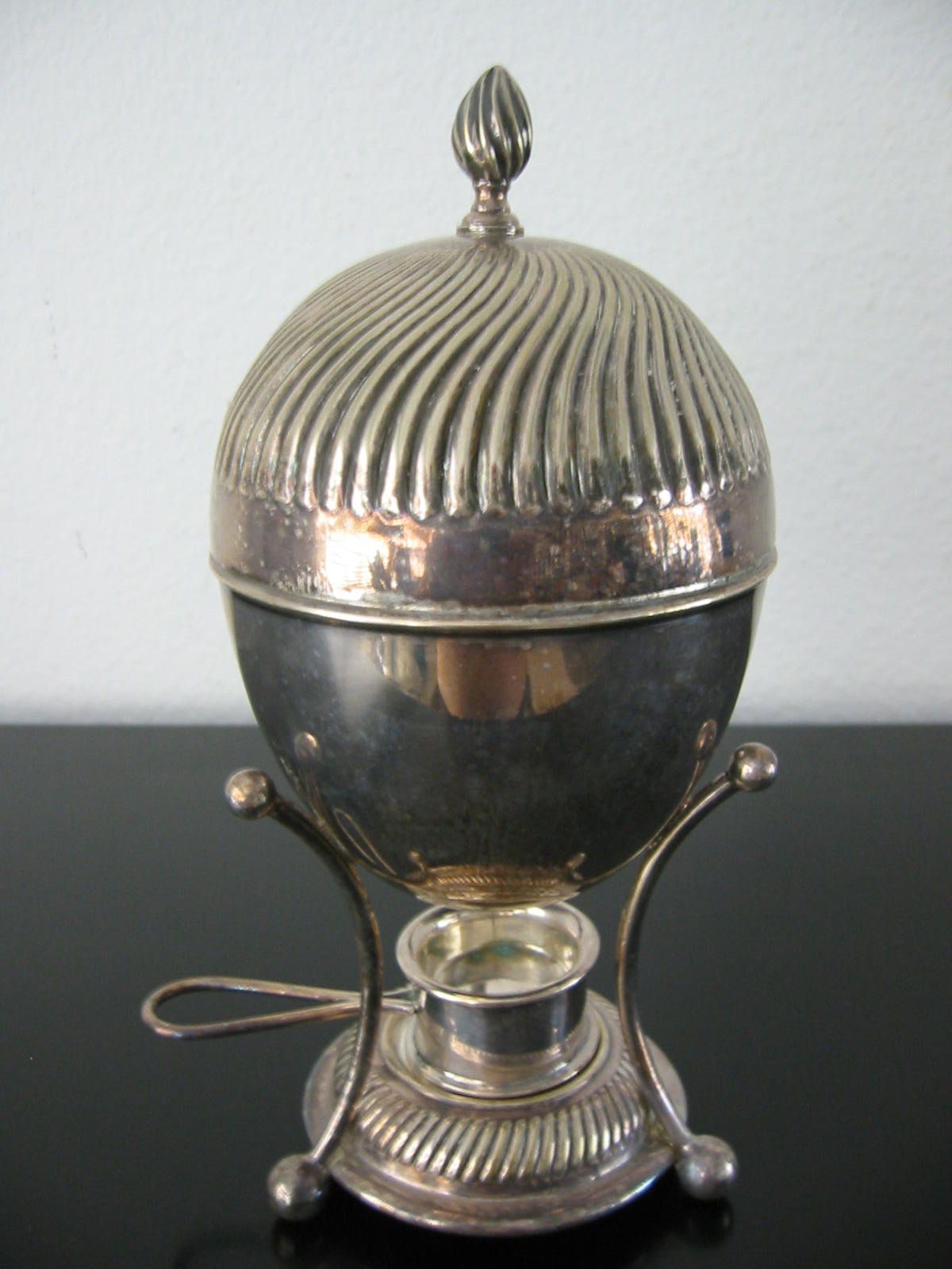 fascinating Vintage Egg Poachers Part - 6: Antique Silver Egg Poacher With Hallmarks