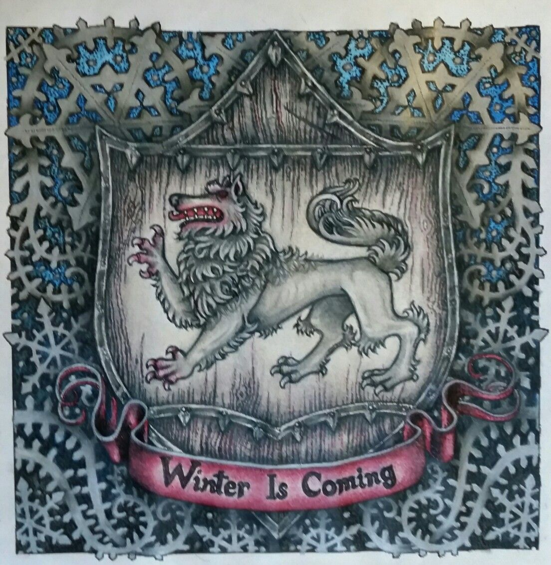 Adult coloring book game of thrones - Game Of Thrones Coloring Book Winterfell Sigil Winter Is Coming Gameofthronescoloringbook Adultcoloringbook