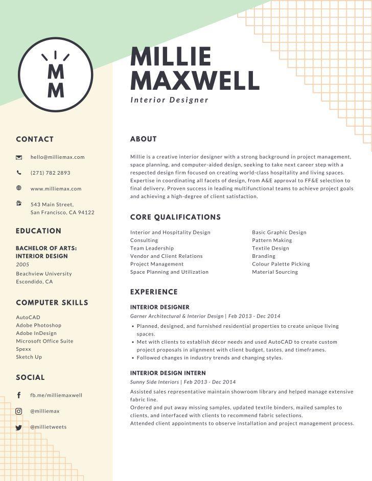 Pastel green and yellow interior designer modern resume