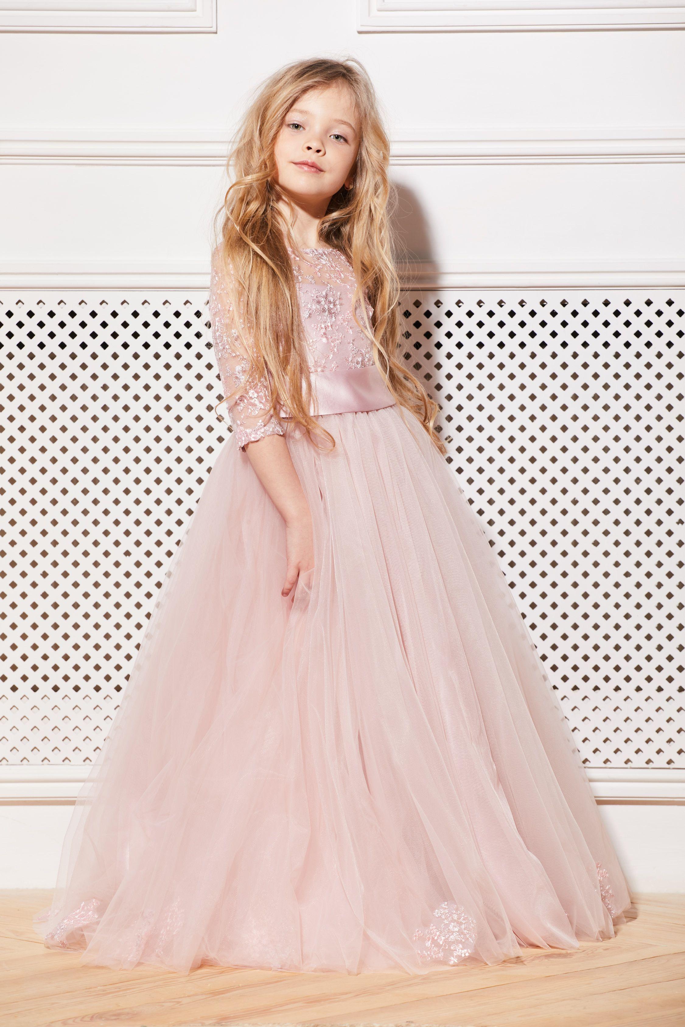 blush pink tutu flower girl dress