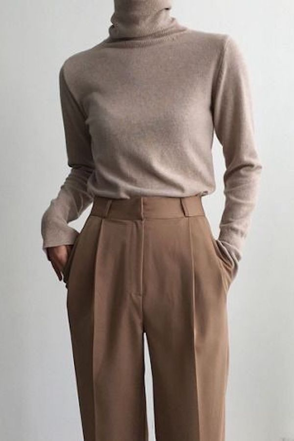 Photo of Minimal Neutral Outfit, beige turtleneck with brown pants #neutral #outfits #min…