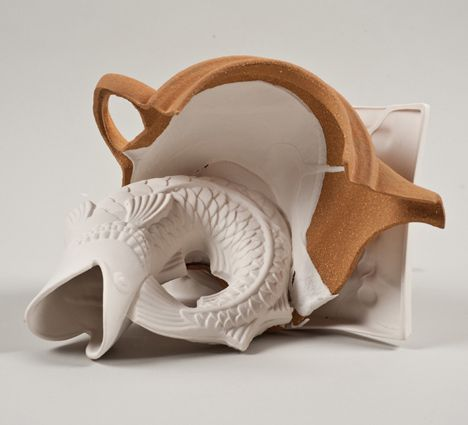 Shlomit Bauman combined white porcelain with the very last batch of clay from a local pit