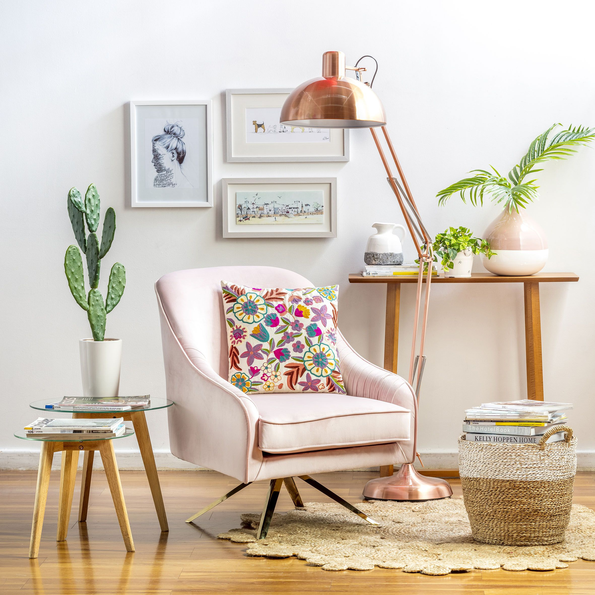 Homy poltrona 66x78x66 cm rosado en 2019 living y estar for Lamparas para apartamentos pequenos