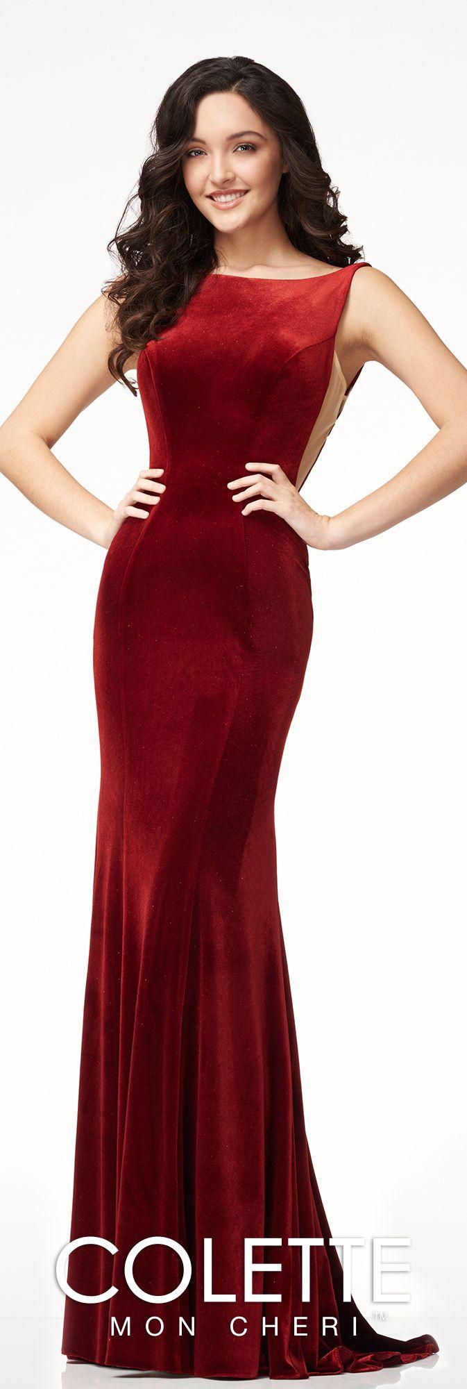 Old Hollywood Velvet Open Back Formal Dress - Colette for Mon Cheri ...