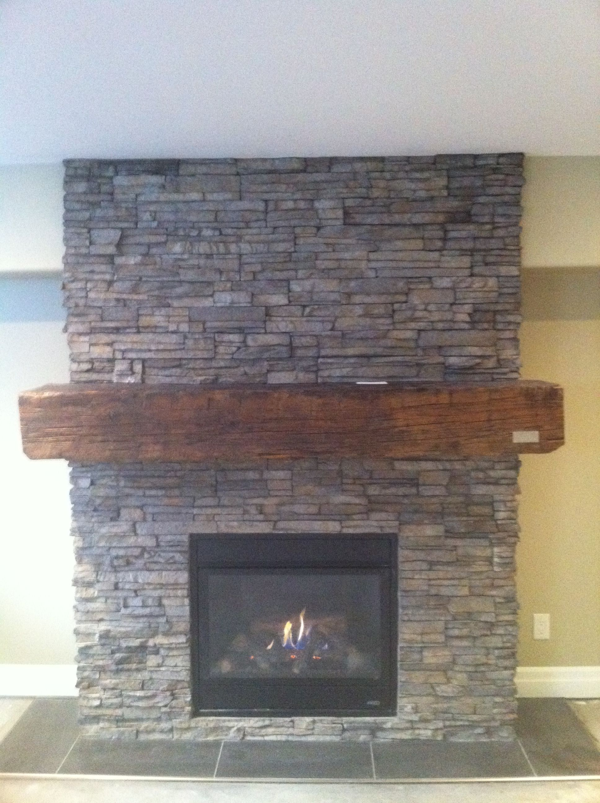 Stone Fireplace With 100 Year Old Barn Beam Mantel My