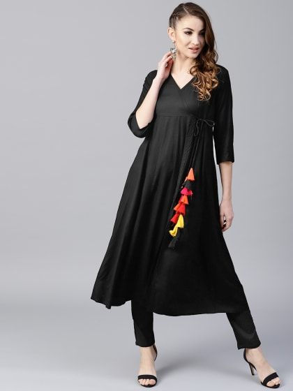 45ed5832f Black Solid Angrakha Style Flared Anarkali With Tassel Details