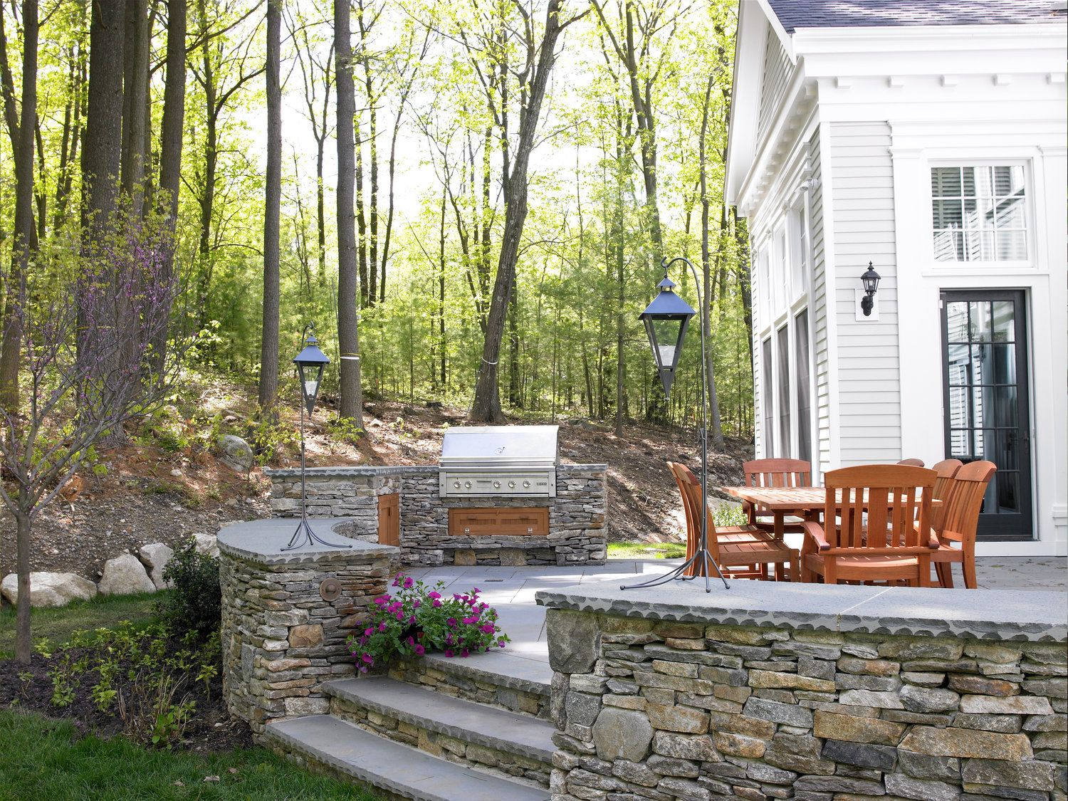 Stone Patio Grill Rockport Road Residence Landscape