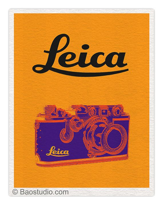 Vintage Leica III camera Yellow/purple  8x10 Pop Art por PineShore, $20.99