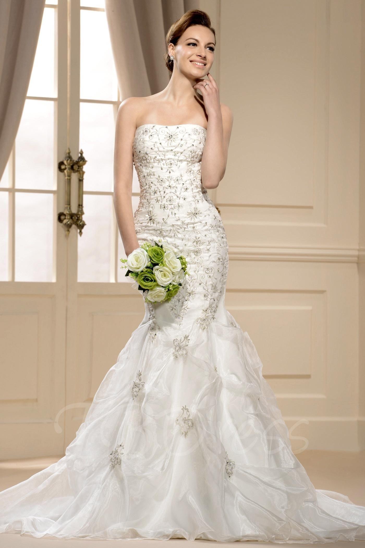 Cheap unique wedding dresses  TBDress  TBDress Gorgoues Mermaid Strapless Chapel Train Appliques
