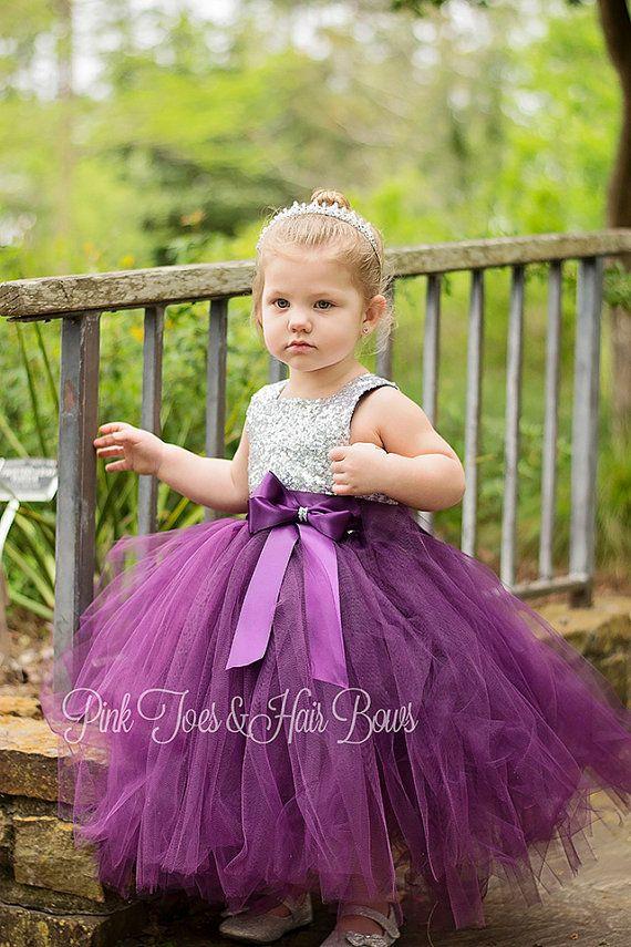 Flower girl dress-birthday dress-plum flower girl dress-silver ...