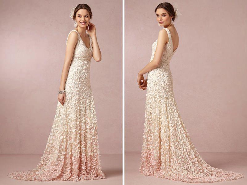 Vestidos de noiva colorido com efeito dip dye para mulheres com ...
