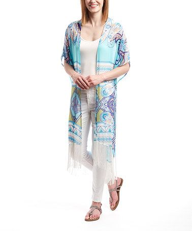 Look what I found on #zulily! Light Blue & Purple Paisley Fringe Open Cardigan #zulilyfinds