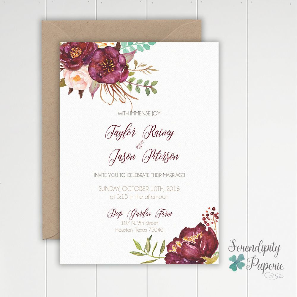 Romantic floral maroon wedding invitation by serendipitypaperieco romantic floral maroon wedding invitation by serendipitypaperieco stopboris Gallery