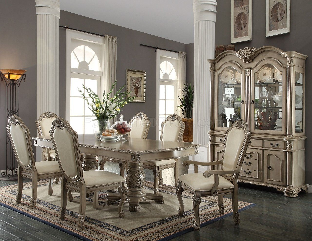 traditional dining room set. Dining Room Traditional Sets Have White Table 6  Chairs Front Wood Cupboard Above Laminate Floor Around Grey Painted Wall With Formal sets Reasons Why Tables Offer More