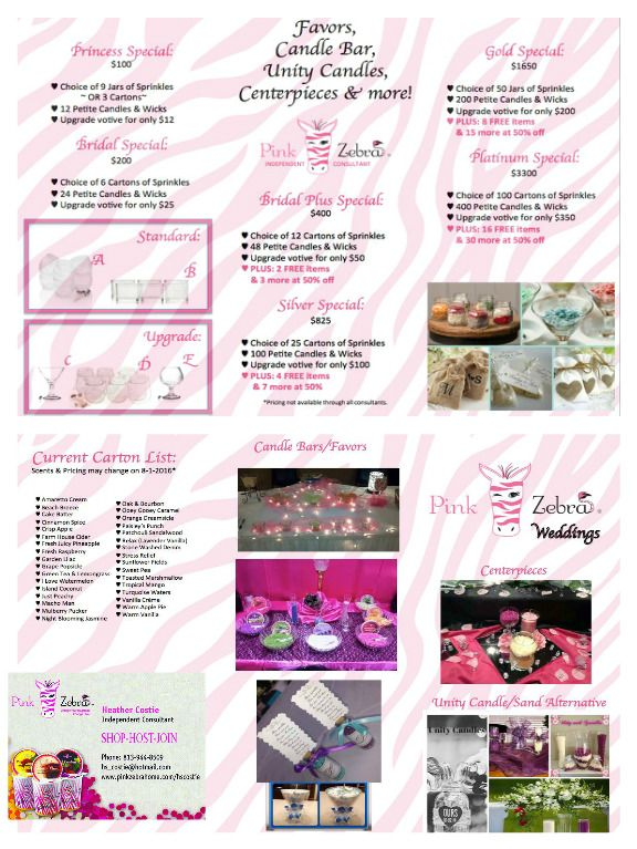 Pink Zebra Wedding Favors Candle Bar