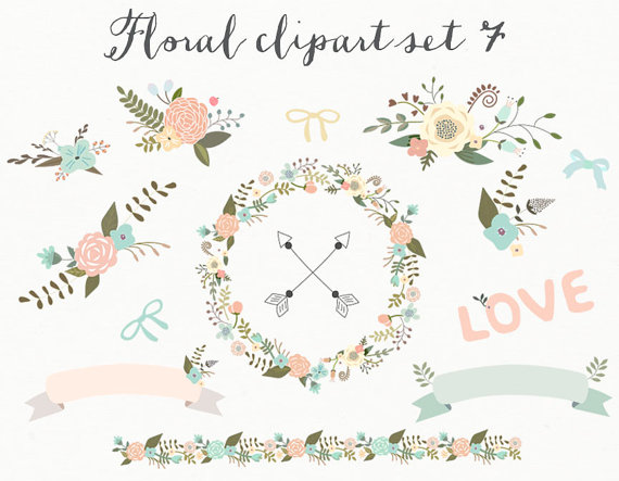 Floral Clipart Wedding Clipart Digital Wreath Flowers Ribbons