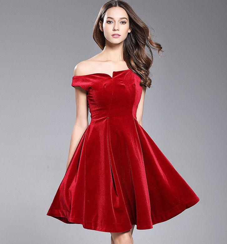 126907b80ae1 Diamond Sexy Asymmetry Strapless High Waistline A-Line Velvet One Piece  Dress Formal Dress