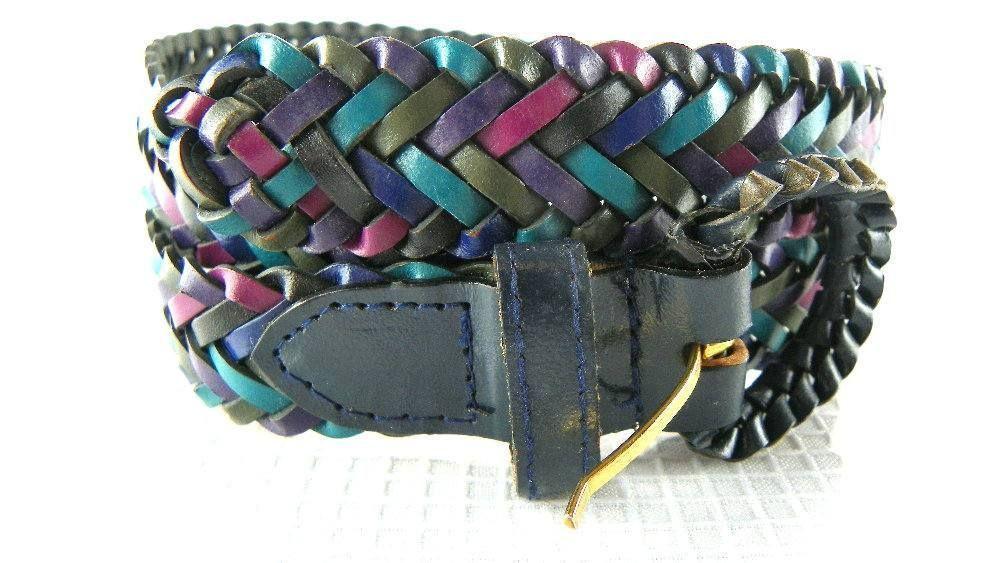 80s Leather Braided Belt Multicolored Womens Medium Large