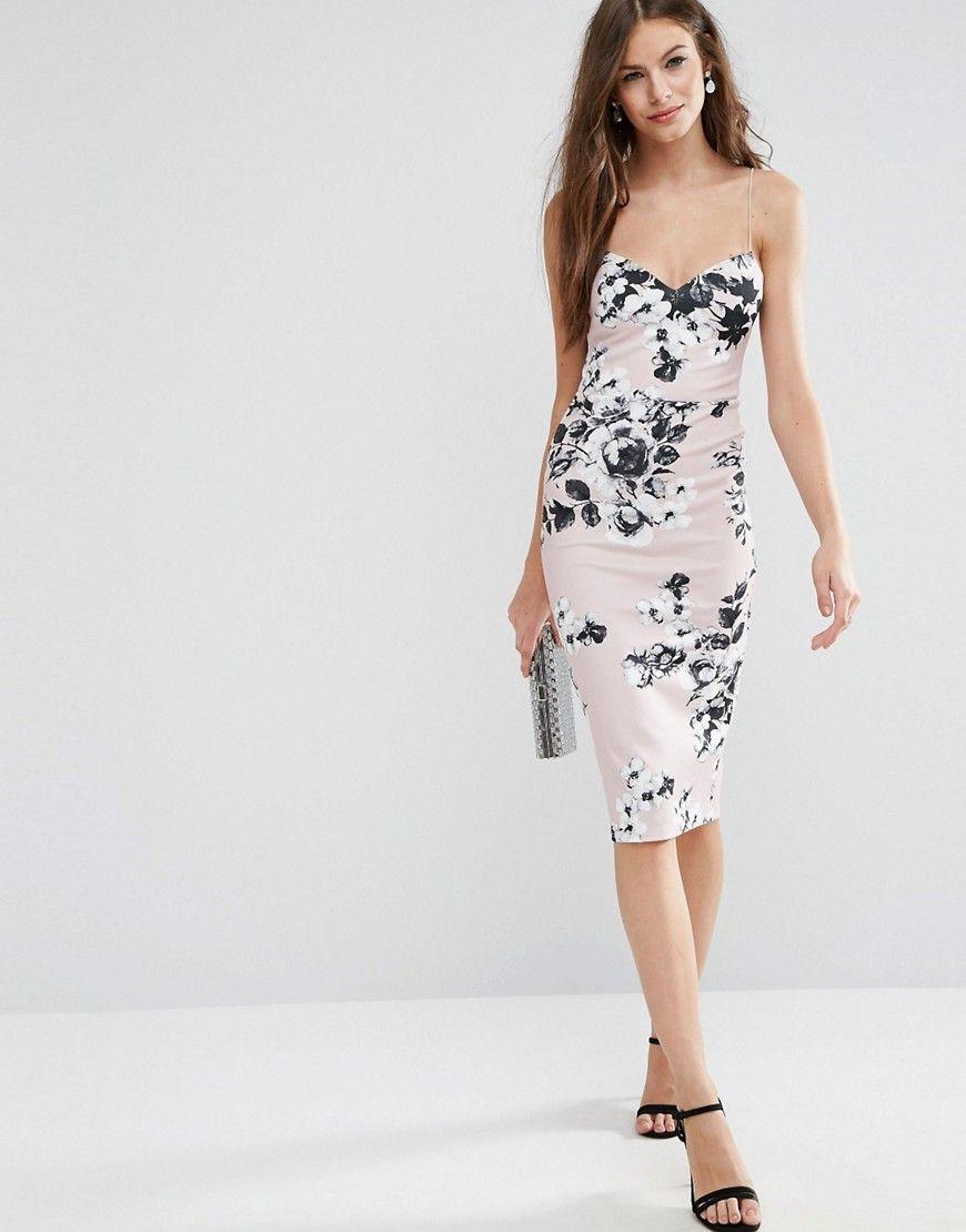 488bb7b7bef Image 1 of ASOS Deep Plunge Scuba Strappy Mink Floral Midi Pencil Dress