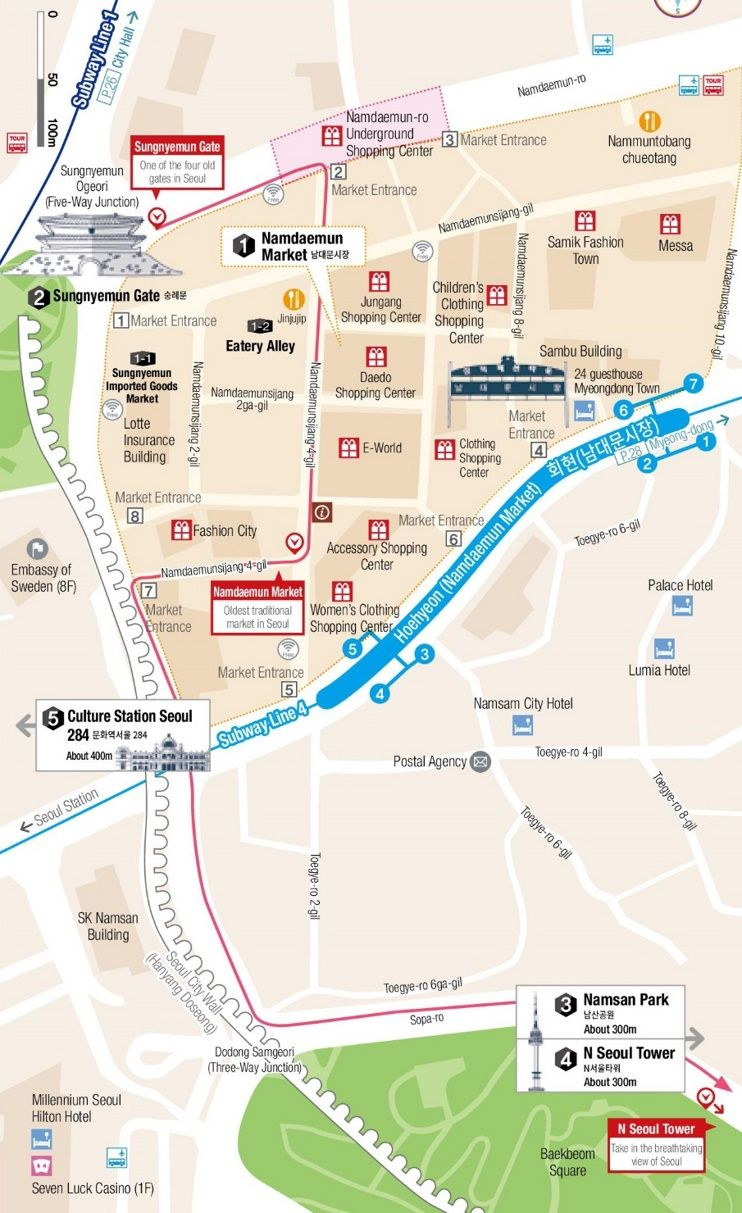 Namdaemun Market and Namsan Mountain map MISCELLANEOUS Pinterest