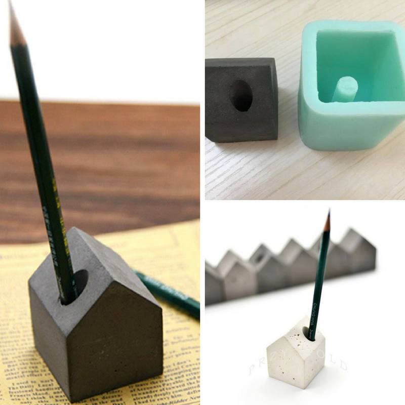 Silicone mold concrete cement pen holder paper small house