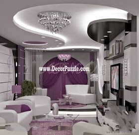 Contemporary Pop False Ceiling Design With Led Lights For Living Room Interior