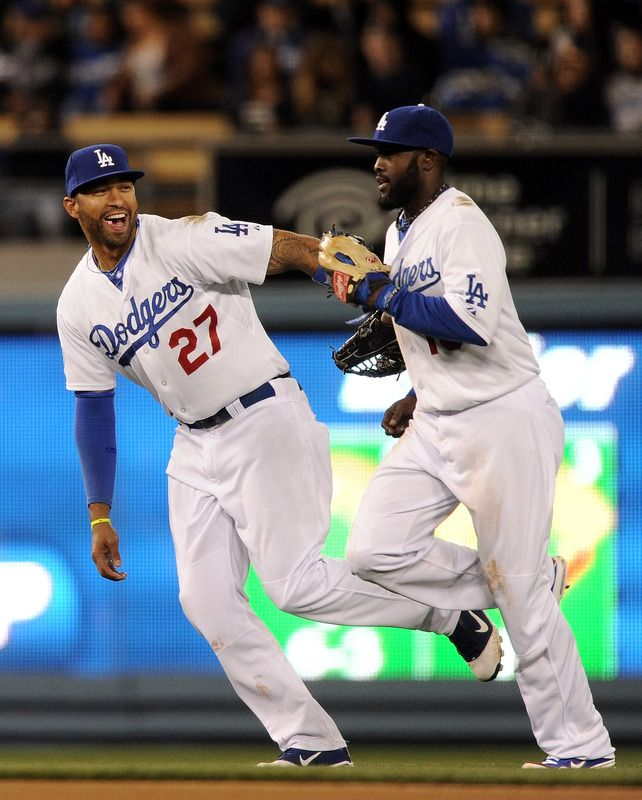 Los Angeles Ca April 13 Matt Kemp 27 And Tony Gwynn 10 Of The Los Angeles Dodgers Celebrate The Third Out Of The Sixth Inn Sports Sports News Sport Event