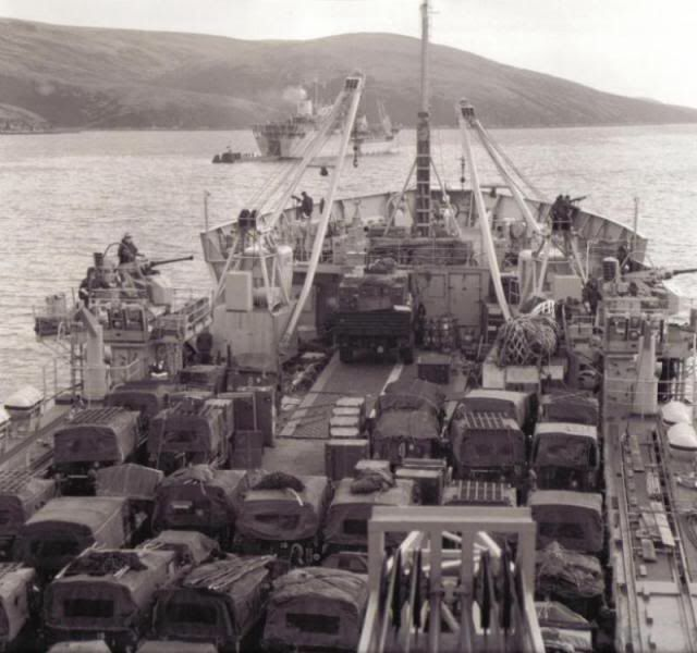 Land Rovers on the way to the Falkland Island War
