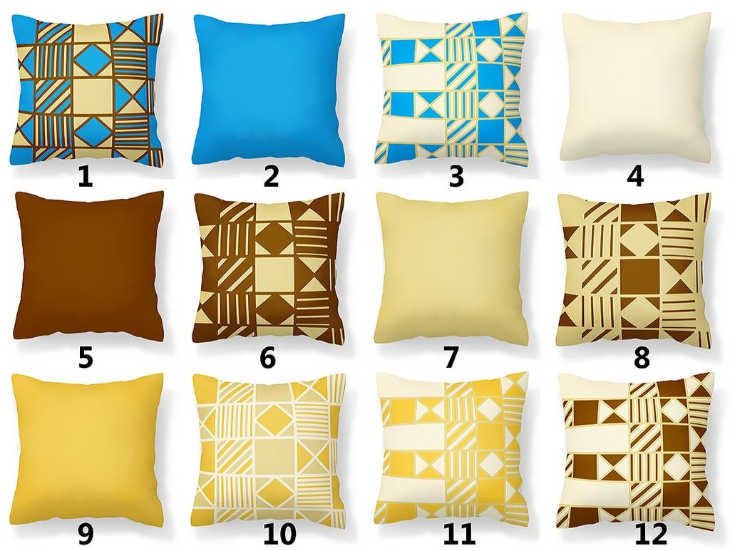 Blue Tan Sand Nutmeg And Maize Yellow Pillow Collection Yellow Pillows Pillows Yellow Pillow Covers