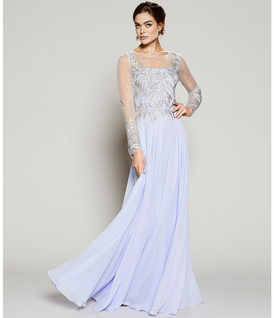 NWT TERANI  COUTURE LONG SLEEVE  V-NECK  GOWN SILVER//BLUE $767 AUTENTIC SZ4//$299