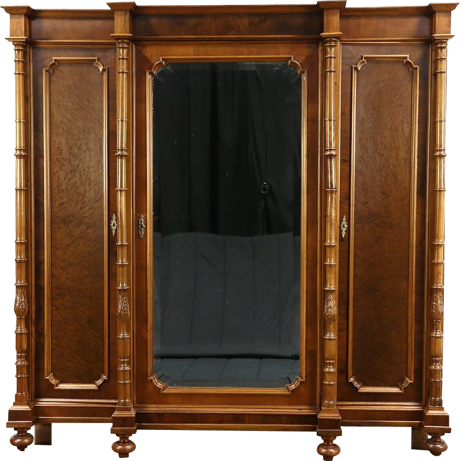 A Triple Armoire, Wardrobe Or Closet Was Crafted In Italy Around 1900 Of  Wormy Walnut
