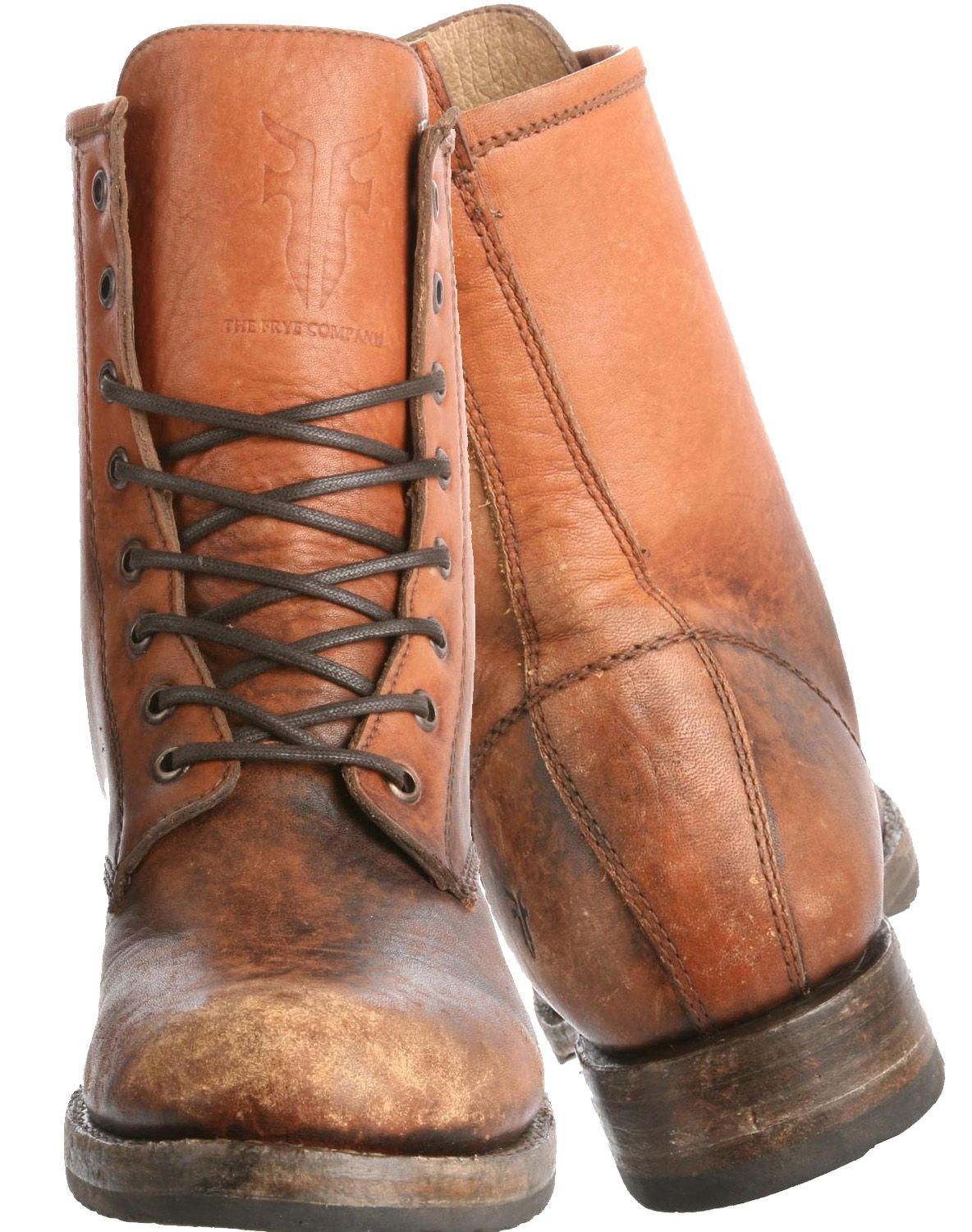 FRYE Womens Veronica Combat Boot cognac stone washed | Boots ...