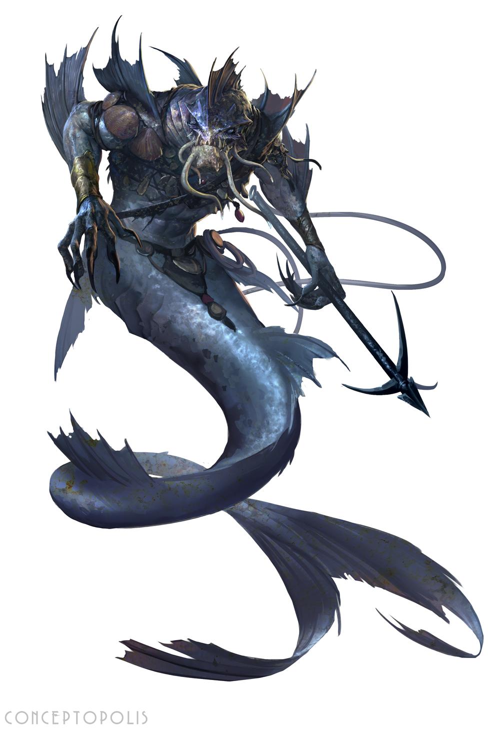 Merrow in 2019   Beastmen   Creature concept, Fantasy creatures