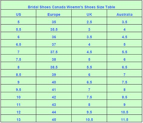 Bridal Shoes Canada Shoes Size Chart - Heel Height - Width ...
